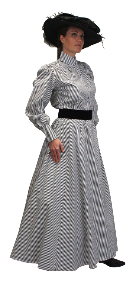 1800s Ladies Gray,Black,White Cotton Stripe Dress Skirt | 19th Century | Historical | Period Clothing | Theatrical || Pinstripe Walking Skirt - Black/White