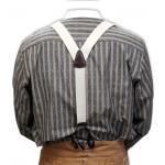 Victorian,Old West, Suspenders Ivory Elastic Y-Back Braces |Antique, Vintage, Old Fashioned, Wedding, Theatrical, Reenacting Costume | Standard Suspenders