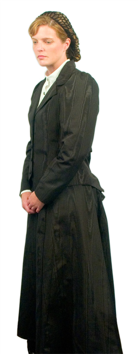 Vintage Ladies Black Solid Dress Skirt | Romantic | Old Fashioned | Traditional | Classic || Moire Gibson Girl Skirt - Black