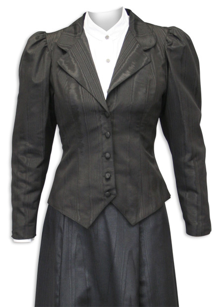 Wedding Ladies Black Cotton Blend Solid Notch Collar Outing Jacket | Formal | Bridal | Prom | Tuxedo || Moire Outing Jacket - Black