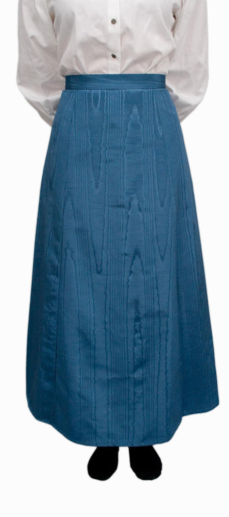 Victorian Ladies Blue Solid Dress Skirt | Dickens | Downton Abbey | Edwardian || Moire Gibson Girl Skirt - Blue