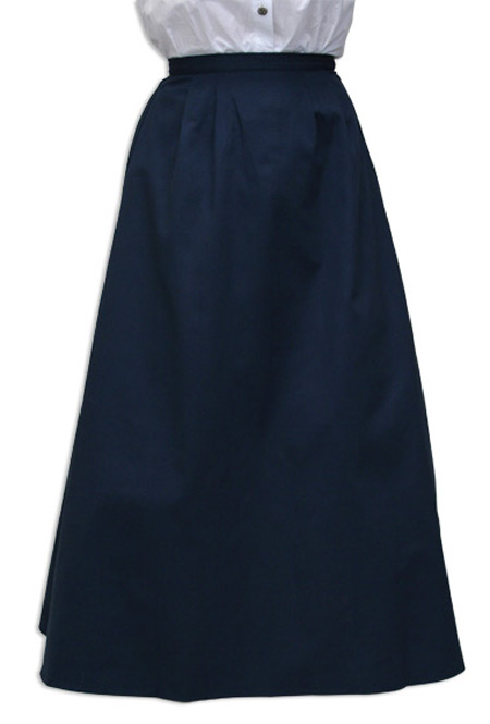 Steampunk Ladies Blue Cotton Solid Dress Skirt | Gothic | Pirate | LARP | Cosplay | Retro | Vampire || Cotton Twill Walking Skirt - Navy