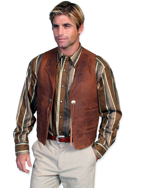 1800s Mens Brown Leather Solid Notch Collar Leather Vest | 19th Century | Historical | Period Clothing | Theatrical || Open Range Leather Vest