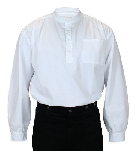 Victorian Mens White Cotton Solid Band Collar Work Shirt | Dickens | Downton Abbey | Edwardian || Mitchell Shirt