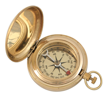 Wedding Mens Brass Brass Compass | Formal | Bridal | Prom | Tuxedo || Dalvey Style Compass - 1.75 in. brass