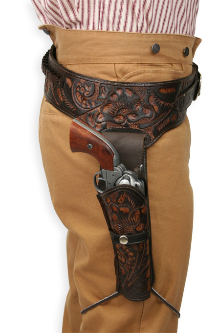 Wedding Mens Brown Leather Tooled Gunbelt Holster Combo | Formal | Bridal | Prom | Tuxedo || (.44/.45 cal) Western Gun Belt and Holster - RH Draw - Two Tone Brown Tooled Leather