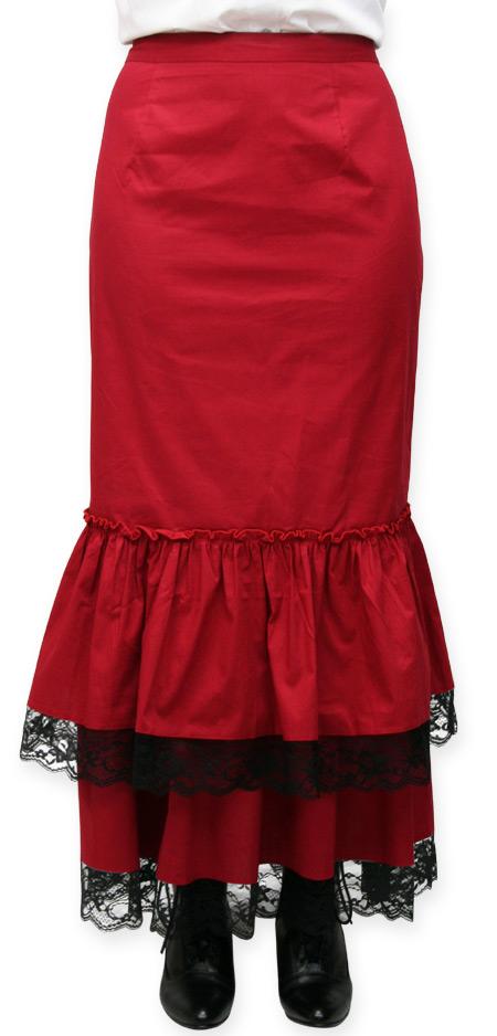 9b8963f8ef Vintage Ladies Red Cotton Blend Solid Dress Skirt