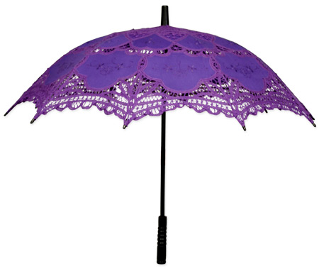 Vintage Ladies Purple Cotton,Lace Lacy Parasol | Romantic | Old Fashioned | Traditional | Classic || Battenberg Lace Parasol, Purple