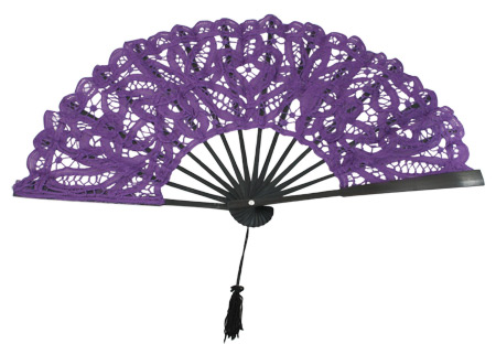 Wedding Ladies Purple Cotton,Lace Fan | Formal | Bridal | Prom | Tuxedo || Fan, Battenberg Lace, Purple