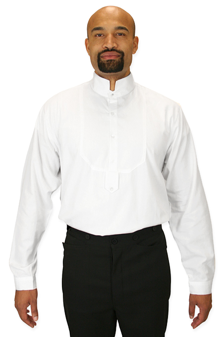 Victorian mens dress shirt high stand collar white for Mens high collar dress shirts