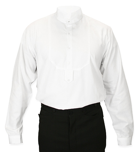 ef7edb1426ce2 Victorian Mens Dress Shirt - High Stand Collar - White