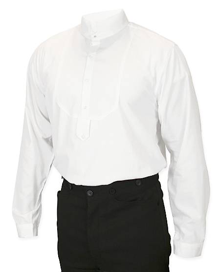 Victorian Mens Dress Shirt - High Stand Collar