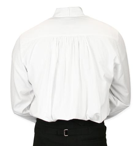 Victorian Mens Dress Shirt High Stand Collar White