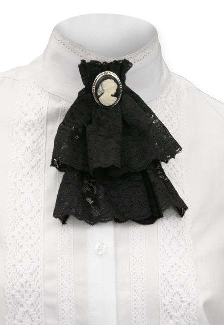 Victorian Lace Jabot Black