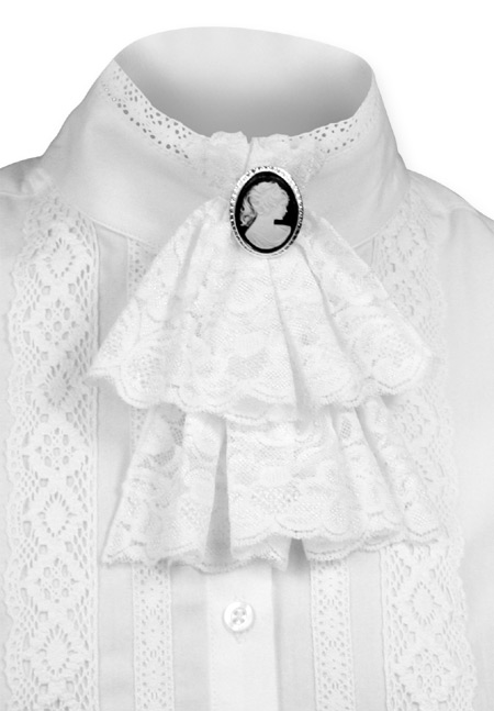Victorian ladies white solid jabot dickens downton abbey