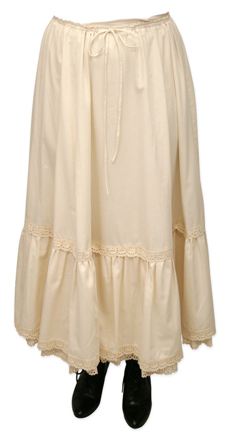 1800s Ladies Ivory Cotton Solid Petticoat | 19th Century | Historical | Period Clothing | Theatrical || Classic Cotton Petticoat - Natural
