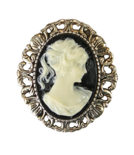 Steampunk Ladies Black,Ivory Resin Pin | Gothic | Pirate | LARP | Cosplay | Retro | Vampire || Cameo - Victorian Black Silhouette