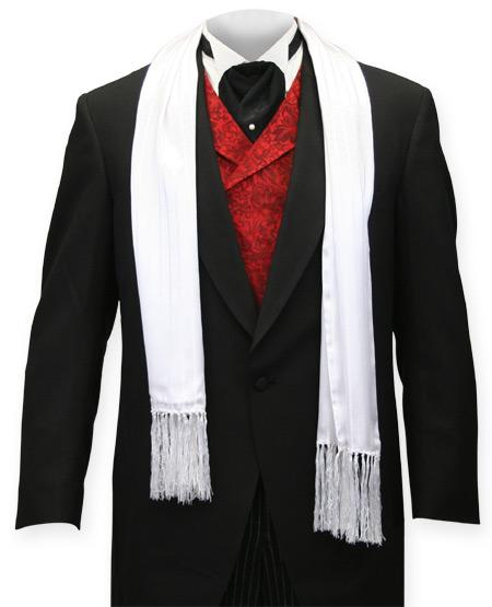 Striped Silk Opera Scarf White