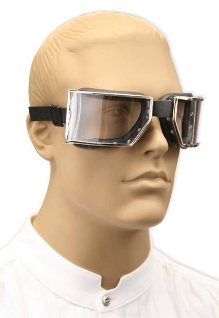 1800s Mens Silver Plastic,Steel Goggles | 19th Century | Historical | Period Clothing | Theatrical || Richthofen Aviator Goggles