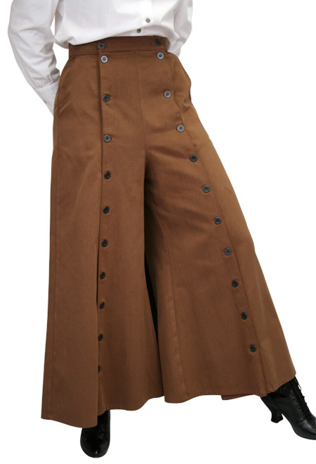 Brushed Twill Convertible Riding Skirt Brown