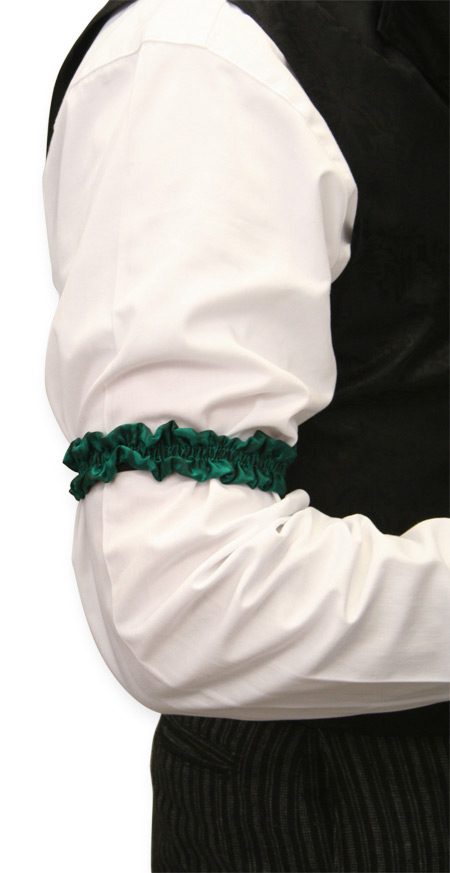Wedding Mens Green Silk Solid Sleeve Garter | Formal | Bridal | Prom | Tuxedo || Deluxe Silk Sleeve Garters - Hunter Green (One Pair)