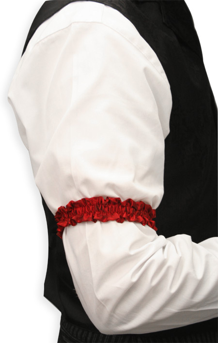 Wedding Mens Red Silk Solid Sleeve Garter | Formal | Bridal | Prom | Tuxedo || Deluxe Silk Sleeve Garters - Red (One Pair)