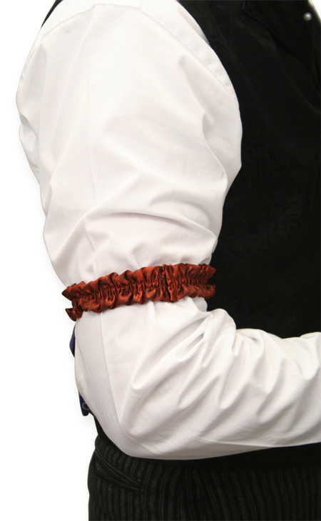 Victorian Mens Red Silk Solid Sleeve Garter | Dickens | Downton Abbey | Edwardian || Deluxe Silk Sleeve Garters - Rust (One Pair)