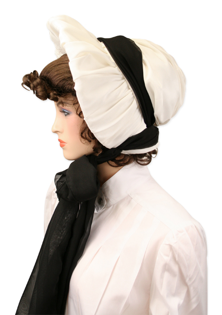 Satin Victorian Bonnet Winter White