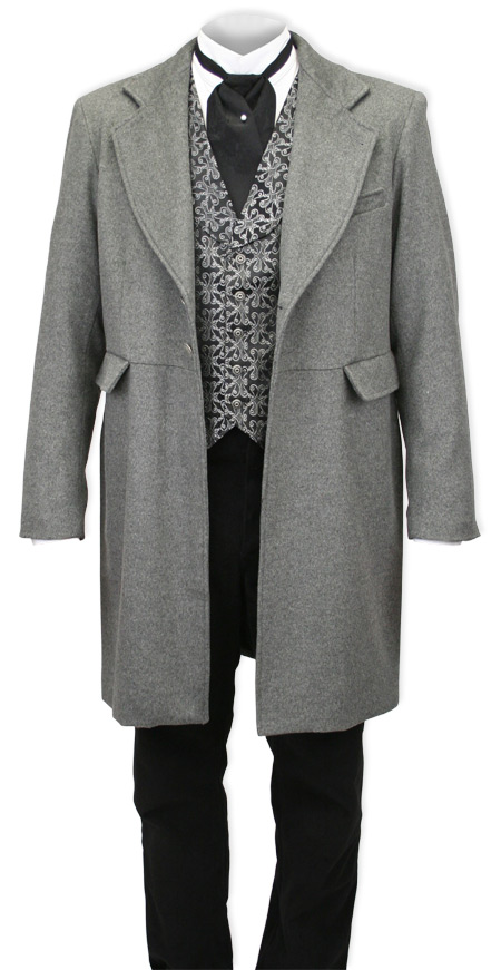Victorian Mens Gray Wool Blend Solid Notch Collar Frock Coat Dickens
