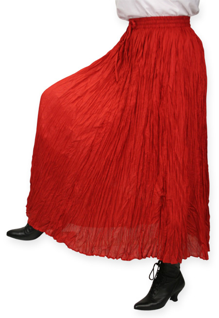 Vintage Ladies Red Cotton Solid Work Skirt | Romantic | Old Fashioned | Traditional | Classic || Hestia Broomstick Skirt - Red
