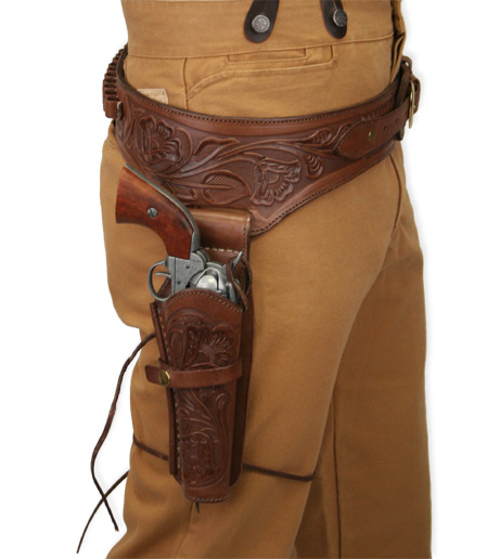 Vintage Mens Brown Leather Tooled Gunbelt Holster Combo | Romantic | Old Fashioned | Traditional | Classic || (.44/.45 cal) Western Gun Belt and Holster - RH Draw - Chocolate Brown Tooled Leather