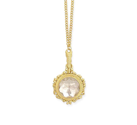 Vintage Ladies Gold Alloy Necklace | Romantic | Old Fashioned | Traditional | Classic || Charm Necklace - 26in. Crystal Hand Mirror (gold)