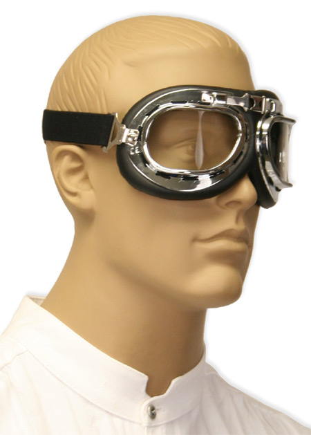 Vintage Mens Black,Clear Plastic Goggles | Romantic | Old Fashioned | Traditional | Classic || RAF Style Flyboy Flying Goggles - Clear Lens