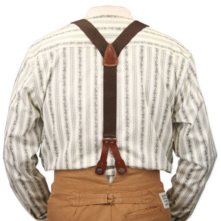 Stagecoach Y Back Suspenders Brown Canvas