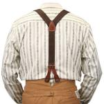Victorian,Old West, Suspenders Brown Cotton Y-Back Braces |Antique, Vintage, Old Fashioned, Wedding, Theatrical, Reenacting Costume | Standard Suspenders