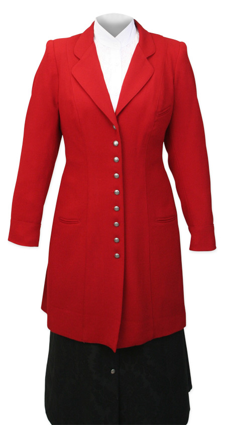 1800s Ladies Red Wool Solid Notch Collar Frock Coat | 19th Century | Historical | Period Clothing | Theatrical || Ladies Wool Crepe Frock Coat - Red