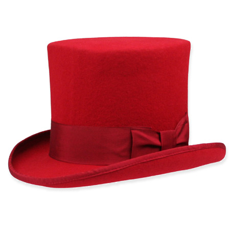 1800s Mens Red Wool Felt Solid Top Hat | 19th Century | Historical | Period Clothing | Theatrical || Elegant Top Hat - Red