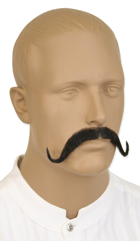 1800s Mens Black Natural Mustache | 19th Century | Historical | Period Clothing | Theatrical || Swank Mustache - Black