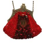 Victorian,Old West, Ladies Purses Red Beaded Fabric,Metal Solid,Medallion Purses |Antique, Vintage, Old Fashioned, Wedding, Theatrical, Reenacting Costume |