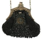 Victorian,Old West,Steampunk, Ladies Purses Black Beaded Fabric,Metal Solid,Medallion Purses |Antique, Vintage, Old Fashioned, Wedding, Theatrical, Reenacting Costume | ,Gifts for Her
