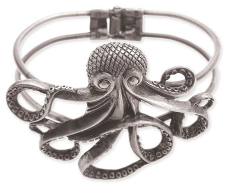 Victorian Ladies Silver Alloy Bracelet | Dickens | Downton Abbey | Edwardian || Octopus Bracelet - Antique Silver