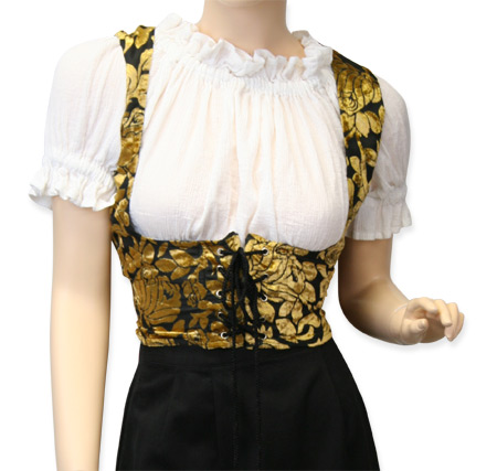 Victorian Ladies Yellow,Black Floral Corset | Dickens | Downton Abbey | Edwardian || Domenica Underbust Bodice