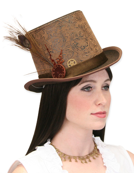 Vintage Ladies Brown Faux Leather Top Hat  a145be2752b