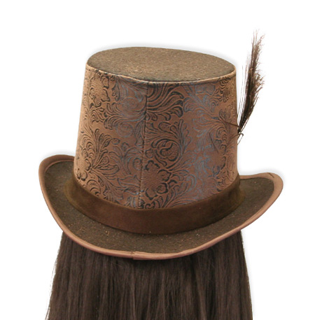 Favori Steampunk Top Hat - Brown Faux Leather NY15