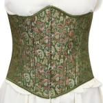 Victorian,Old West,Steampunk, Ladies Corsets Green Synthetic,Satin Floral Corsets |Antique, Vintage, Old Fashioned, Wedding, Theatrical, Reenacting Costume |