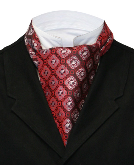 Steampunk Mens Multicolor,Red Geometric Ascot | Gothic | Pirate | LARP | Cosplay | Retro | Vampire || Medallion Ascot - Red and Silver