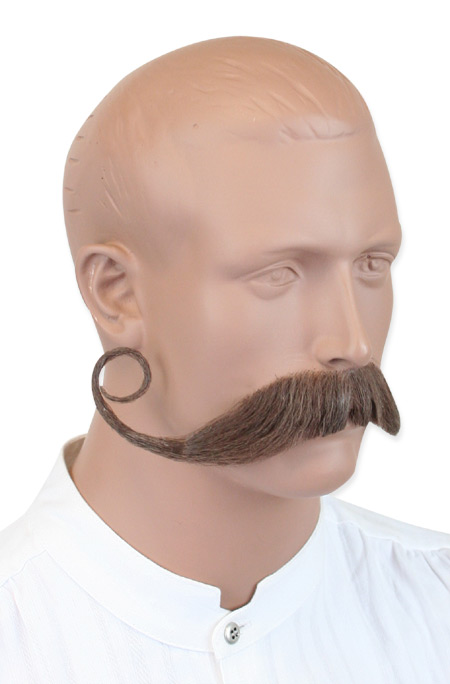 Vintage Mens Brown Natural Mustache | Romantic | Old Fashioned | Traditional | Classic || Piper Mustache - Brown