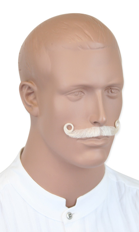 1800s Mens White Natural Mustache | 19th Century | Historical | Period Clothing | Theatrical || Ambassador Mustache - White