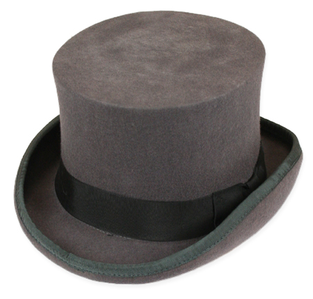 1800s Mens Gray Wool Felt Top Hat | 19th Century | Historical | Period Clothing | Theatrical || Deluxe John Bull Top Hat - Charcoal Gray