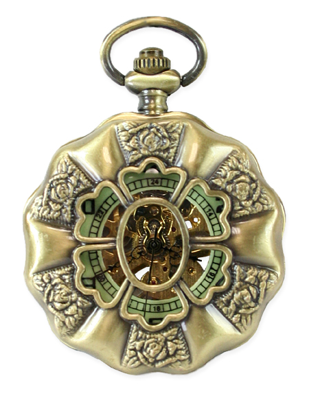 Theatrical Mechanical Pocket Watch Antique Gold Rotary Design